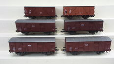 Roco H0 - 4315B - 6 Freight carriages in different implementations of the NS