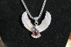 Large silver eagle pendant including necklace