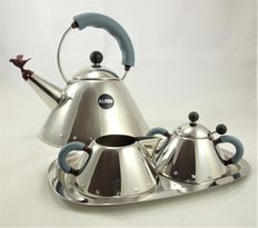 Michael Graves for Alessi - Flute Kettle 9093 + milk can 9096 + sugar tin 9097 + tray