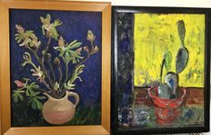 Unknown (mid 20th century) - Two still lifes of cactus