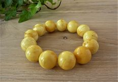 Baltic amber bracelet  milk honey colour, 28.59 gr.