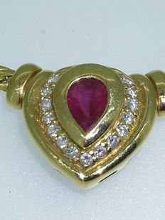 18 kt yellow gold necklace with ruby and diamonds - 42 cm.