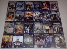 Lot of 24 Playstation 2 shooter/action games + 32MB Memorycard (Splinter Cell, Dark Angel, Avatar,  Unreal Tournament and more)