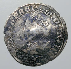 United Kingdom - Tudor Groat (4 Pence) Mary (1553-4)  Pomegranate Mint Mark - silver