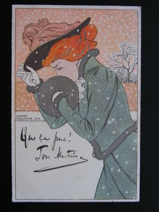 France - Woman in snowstorm - Henri Meunier - 1900 - Postcard