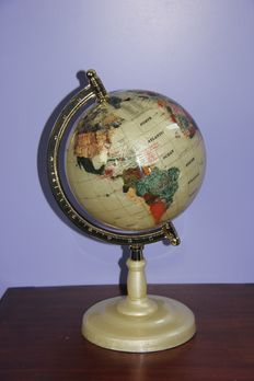 World Globe, made from Mother-of-pearl and 45 various Precious Stones, inlaid with 14ct yellow gold - 420mm