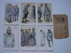 England – the HUN as seen by E.Sachetti – 1916 –complete set of 6 with original envelope