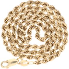 Yellow gold rope chain necklace of 14 kt – Length: 44.5 cm.