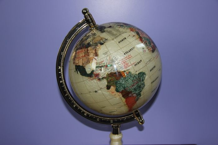 World globe made from mother of pearl and 45 various precious stones inlaid with 14ct yellow gold 420 mm catawiki world globe made from mother of pearl and 45 various precious stones inlaid with 14ct yellow gold 420 mm gumiabroncs Image collections