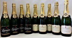 Lanson Champagne; Black Label Brut x 4 & Ivory Label Demi-Sec x 5 – 9 bottles in total
