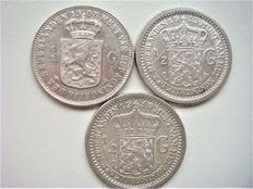 The Netherlands – ½ guilder 1905, 1913 and 1919 Wilhelmina, silver