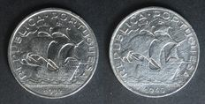 Portugal – 2 coins of 10 Escudos face value in SILVER – 1932 and 1940 – Portuguese Republic – Lisbon