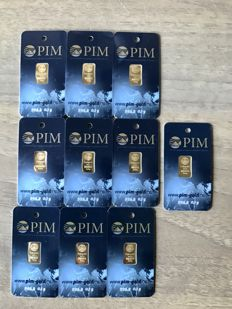 10 items Gold bars with certificate.