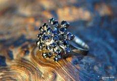 14 kt white gold ring and 25 dark blue sapphires