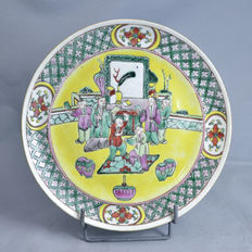 Porcelain plate with a court scene - China - 19th century
