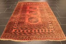 Beautiful old hand-knotted Art Deco oriental carpet, 130 x 190cm, Afghan around 1980, made in Afghanistan
