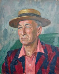 From the estate of Bernard Hailstone (1910-1987) - Portrait of actor Noel Coward in a straw boater hat