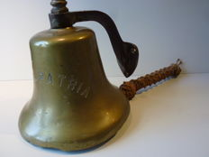Antique ship's bell - with text: S.S. Patria - early 1900's