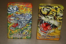 2 collector's lighters - Ed Hardy designs by Christian Audigier - large table lighters - 20th century