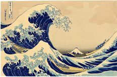 "Woodcut print by Katsushika Hokusai (1760-1849), The Great Wave from the series ""Thirty-six Views of Fuji"" (reprint) - Japan - approx. 1930"
