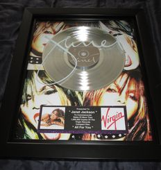 "Big presented to Janet Jackson Platinum Record Award ""All for you"" Usa"