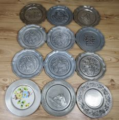 Lot with 12 German Pewter plates with different scenes - 1960