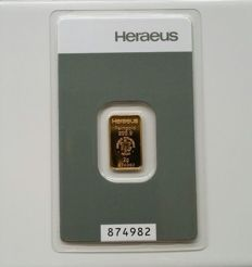 Heraeus Gold Bars 2 grams- 999.9 Fine Gold -safely packed in blister packaging with certificate and serial number