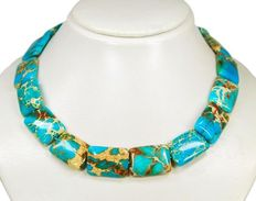 Stylish gemstone necklace made of turquoise marine sediments, blunt rectangular shape, 925 silver