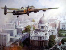 "Art Print  - ""In Remembrance - Sixty Years On"" - Lancaster above St.Paul's Cathedral : Artist Michael Turner"