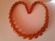 Art Deco Baltic amber necklace old honey butterscoth colour, weight: 88 gram. Made in Russia (Kaliningrad)
