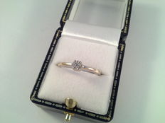 18 kt white gold ring with diamond, 0.18 ct, ring size 16.5/52