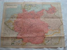 "Third Reich; Old original map, ""German Reich/Empire and bordering countries"" from 1940"
