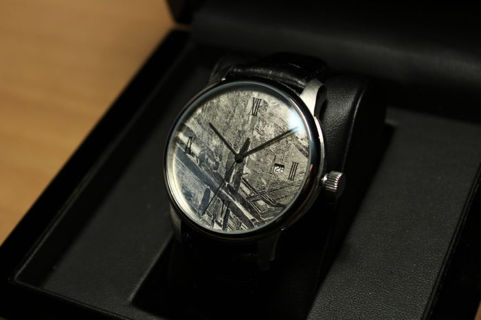 c3a6822eb7f Meteorite Watch - High Quality Swiss Automatic Movement (ETA 2824-2) -  Meteorite Dial (Rhodium plated)