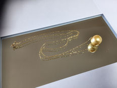 Pearl pendant with 14 kt gold necklace