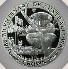 Isle of Man - 10 Crowns 1988 'Australian Bicentennial - Koala' 10 oz silver in Slab