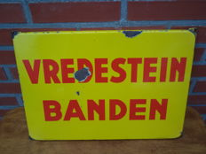 Vredestein tires - enamel sign - Langcat Bussum - from the 60s