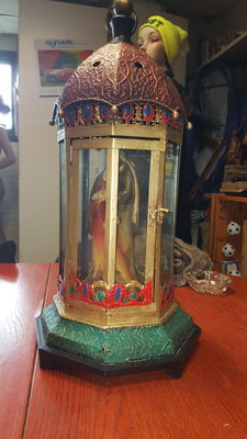 Beautiful old glass/altar/lantern with Joseph and Mary