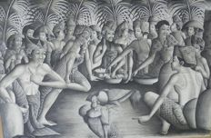 Ink on canvas, cockfight under the eye of the Balinese - signed - Bali - Indonesia.