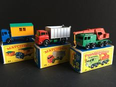 Lesney Matchbox - Misc. scales - GMC Tipper Truck No.26, 8-Wheel Crane Truck No.30 and Truck with Site Office No.60