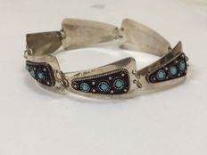 Silver bracelet with turquoise - Israel - 1950