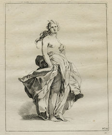 Two etchings by Frederick Bloemaert (ca 1614 – 1690) after his father Abraham Bloemaert - two female semi-nudes - From the drawing book