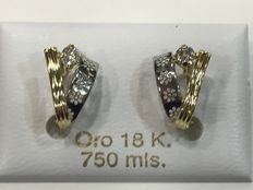 Two-tone gold earrings with zircon
