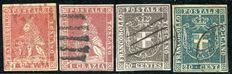 Tuscany, 1851 - Lot with 2 stamps with values of 1 Crazia, 10 cents and 20 cents.