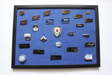 USSR. Soviet airplanes. Collection of 24 icons in a frame