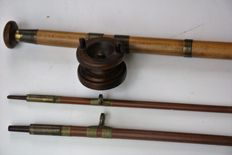 Very rare English Hardy Alnwick Greenheart salmon fishing rod with nothingham wooden reel - England - 1905
