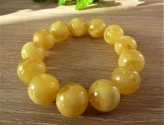 Baltic amber bracelet  translucent egg yolk colour, 40.48 g.