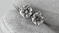 1.94 ct round diamond stud earrings 14 kt white gold