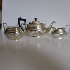 3 piece Silver tea service, George Nathan & Ridley Hayes, Chester, 1897