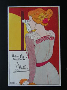France - Woman with opera glasses - Henri Meunier - 1900 - Postcard