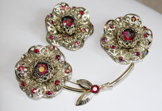 Vintage brooch and earrings by Sarah Coventry, 1950s
